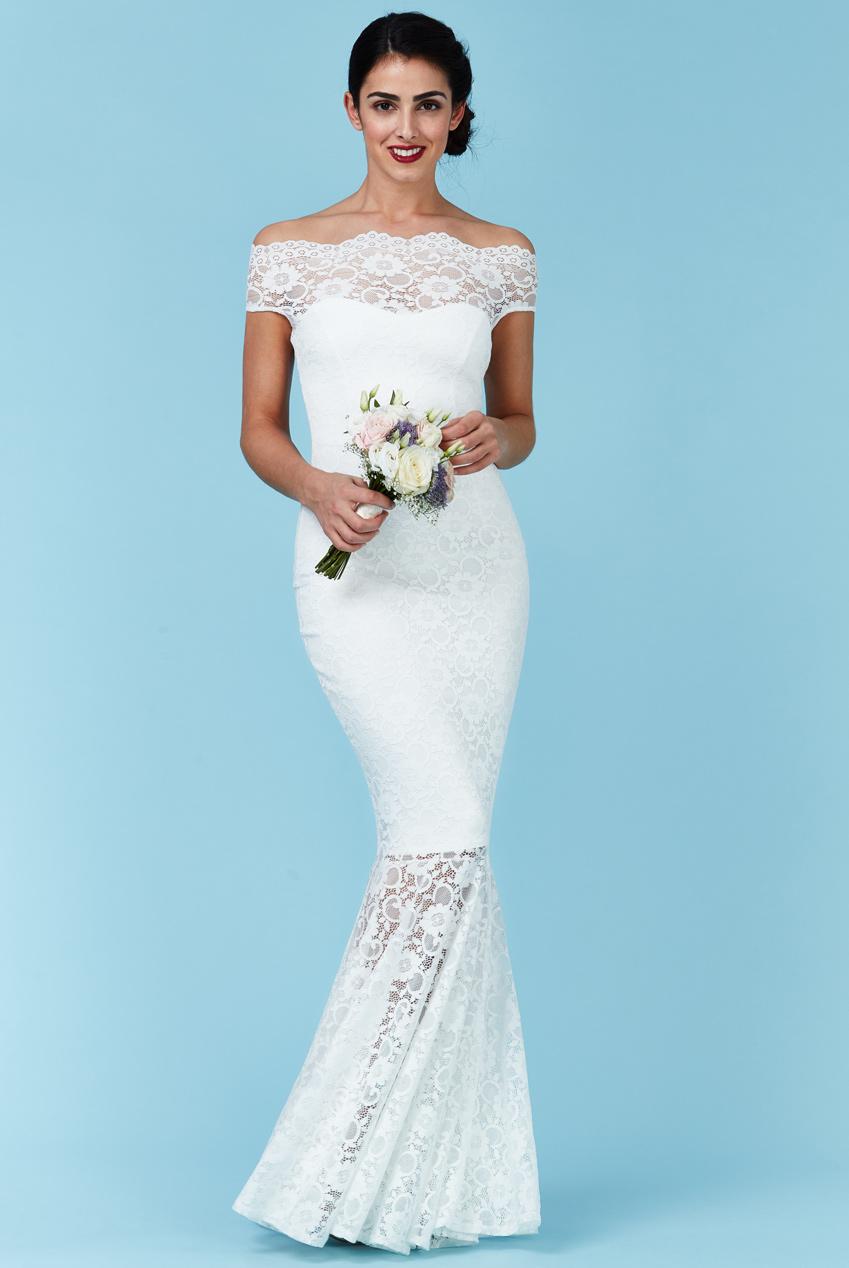 Brautkleid Hochzeitskleid Mermaid Vintage Carmen Natur Weiss ...